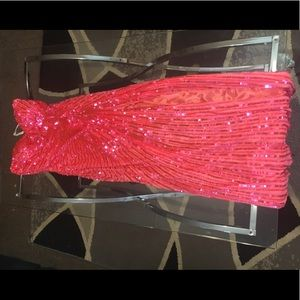 "Mac Duggal pink sequenced ""prom"" dress"